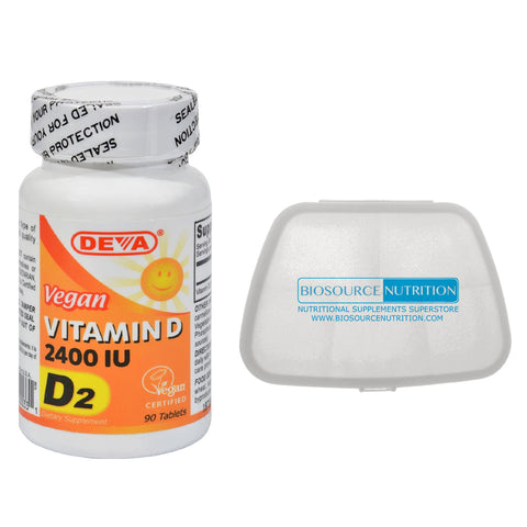 Deva Vegan Vitamin D 2400 IU 90 Tablets and Biosource Nutrition Pill Pack - Biosource Nutrition