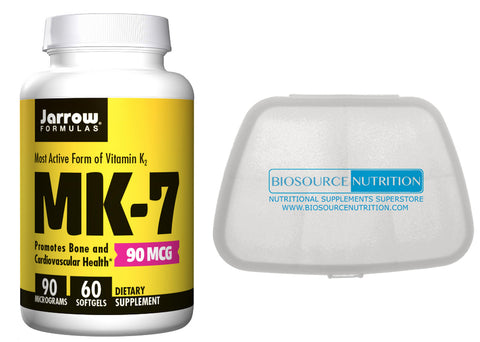 Jarrow Formulas  MK7 (K2) 90 mcg 60 Softgels and Biosource Nutrition Pocket Pill Pack - Biosource Nutrition