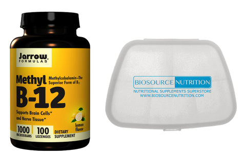 Jarrow Formulas Methyl B-12 1000 mcg 100 Lozenges and Biosource Nutrition Pocket Pill Pack - Biosource Nutrition