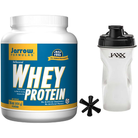 Jarrow Formulas Whey Protein Unflavored 16 oz. (454 Grams) & Jaxx Shaker Black 28 oz Bundle - Biosource Nutrition