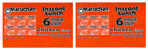 Maruchan Instant Lunch Chicken Flavor Ramen Noodle Soup 2.25 oz. 6 Cups (2 Pack) - Biosource Nutrition