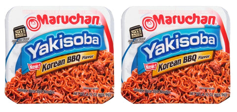 Maruchan Yakisoba Korean BBQ Flavor Japanese Home Style Noodles 4.12 0z. (116.9g) (2 Pack) - Biosource Nutrition