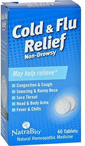 NatraBio Cold and Flu Relief 60 Tablets - Biosource Nutrition