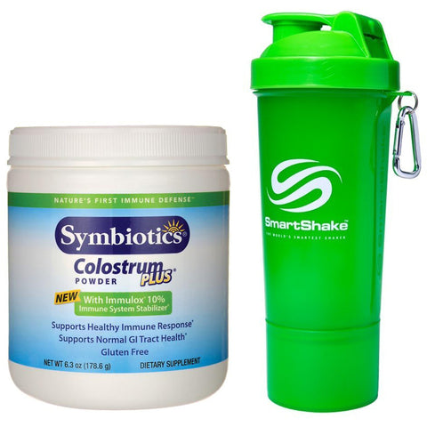 Naturade Symbiotics Colostrum Plus Powder 6.3 oz and Smartshake Slim Neon Green Shaker 17.0 oz - Biosource Nutrition