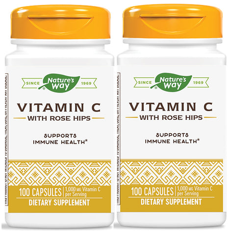 Nature's Way Vitamin C 500 with Rose Hips 100 Capsules (2 Pack)