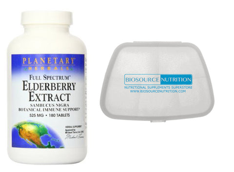 Planetary Herbals Elderberry Extract 180 Tablets and Biosource Nutrition Pocket Pill Pack - Biosource Nutrition
