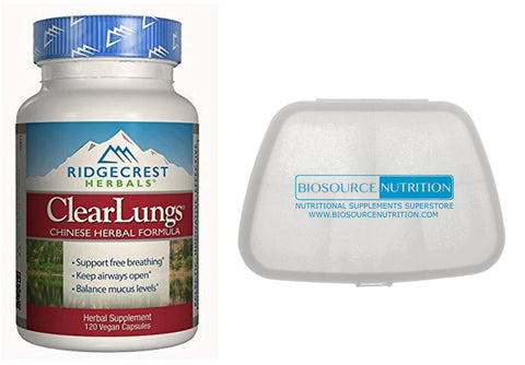 Ridgecrest Herbals Clear Lungs Original Formula 120 Vegan Capsules and Biosource Nutrition Pocket Pill Pack - Biosource Nutrition