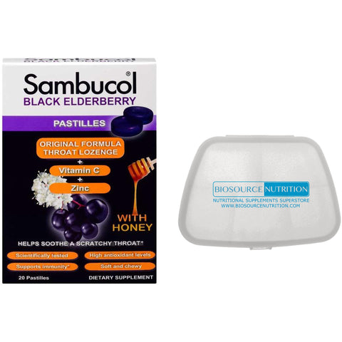 Sambucol Black Elderberry Original Formula 20 Pastilles and Biosource Nutrition Pocket Pill Pack - Biosource Nutrition