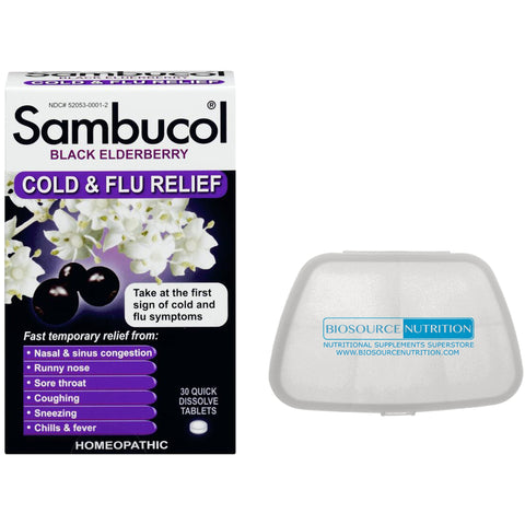 Sambucol Black Elderberry Cold and Flu Relief 30 Quick Dissolve Tablets and Biosource Nutrition Pocket Pill Pack - Biosource Nutrition