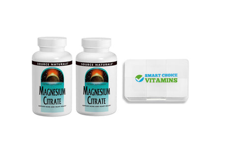 Source Naturals Magnesium Citrate 133 mg 90 Capsules (2 Pack) and Smart Choice Vitamins Pocket Pill Box - Biosource Nutrition
