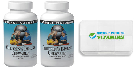 Source Naturals Wellness Children's Immune Chewable 60 Wafers (2 Pack) and Smart Choice Vitamins Pocket Pill Box - Biosource Nutrition