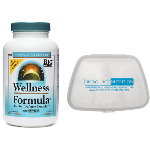 Source Naturals Wellness Formula 240 Capsules and Biosource Nutrition Pocket Pill Pack - Biosource Nutrition