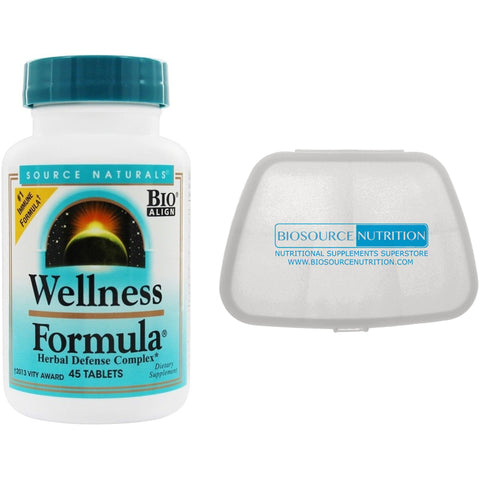 Source Naturals Wellness Formula 45 Tablets and Biosource Nutrition Pocket Pill Pack - Biosource Nutrition