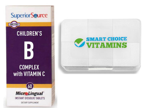 Superior Source Children's B Complex and Vitamin C 60 Tablets and Smart Choice Vitamins Pocket Pill Box - Biosource Nutrition