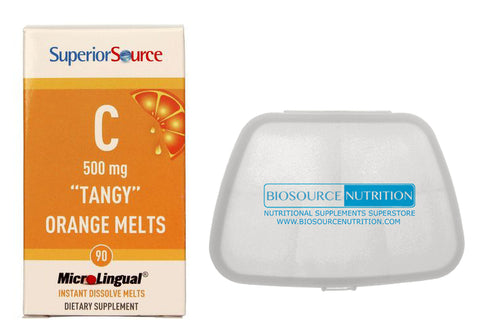 Biosource Nutrition Pocket Pill Pack and Superior Source Vitamin C 500 mg Tangy Orange Melts 90 MicroLingual Tablets - Biosource Nutrition