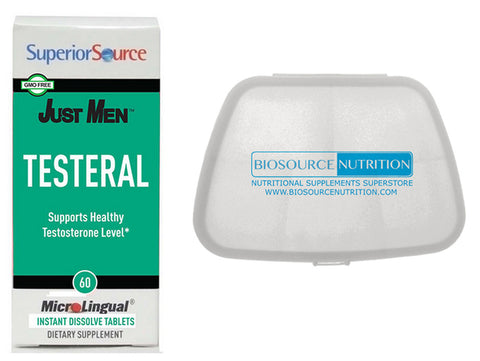 Superior Source Just Men Testeral 60 Tablets and Biosource Nutrition Pocket Pill Pack - Biosource Nutrition