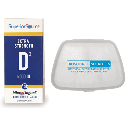 Superior Source Extra Strength Vitamin D3 5000 IU 100 MicroLingual Tablets and Biosource Nutrition Pocket Pill Pack - Biosource Nutrition