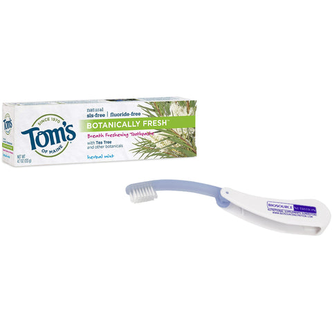 Tom's of Maine Botanically Fresh Herbal Mint Toothpaste 4.7 oz and Biosource Nutrition Travel Toothbrush - Biosource Nutrition