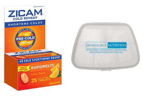 Zicam Rapidmelts 25 Tablets and Biosource Nutrition Pocket Pill Pack - Biosource Nutrition