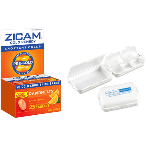 Zicam Rapidmelts 25 Tablets and Biosource Nutrition Pill Box - Biosource Nutrition