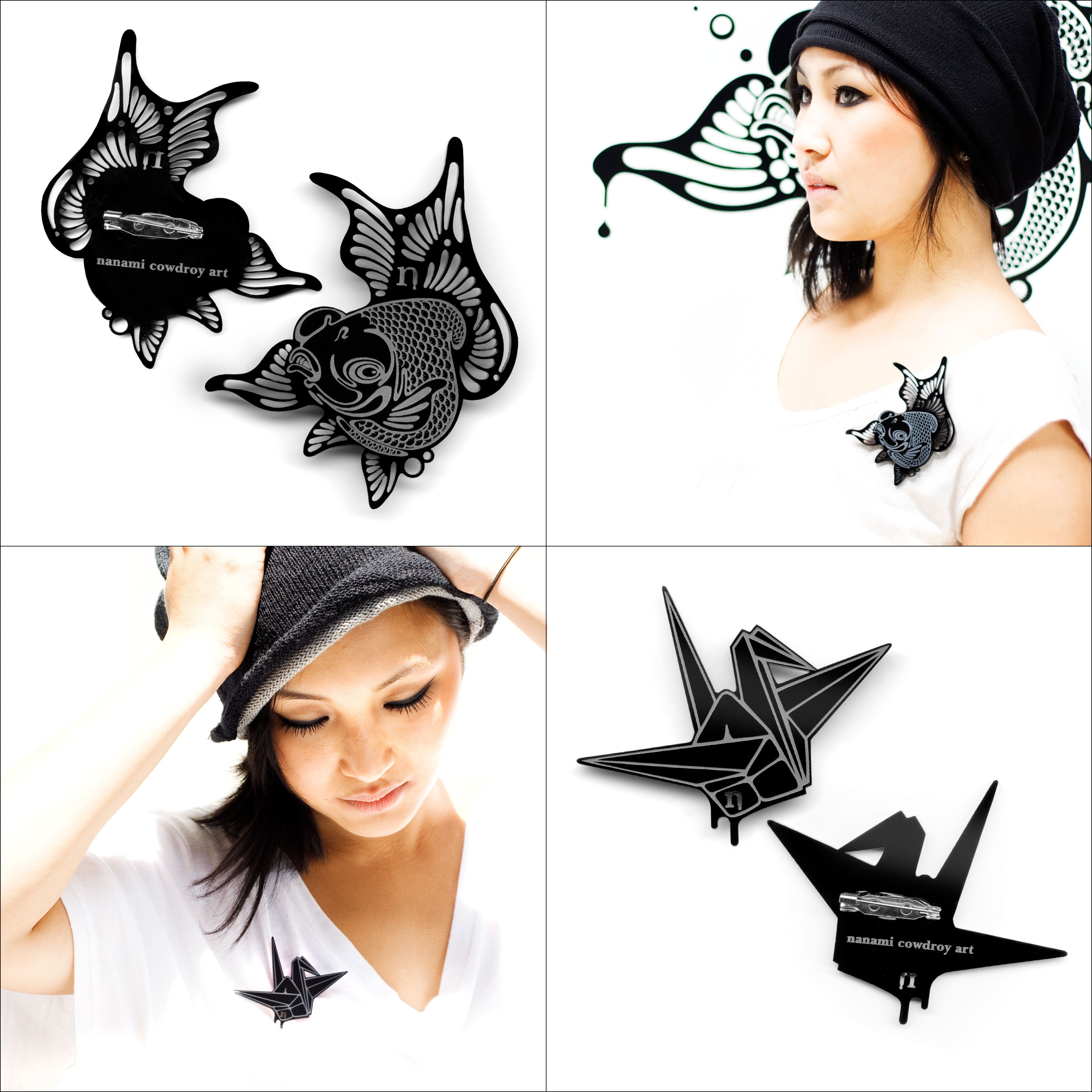 Inky Pieces - GoldFish & Paper Crane Brooch
