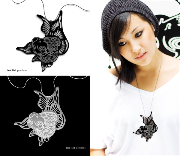 Inky Pieces - Black & White Fish Necklace