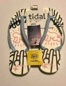 TIDAL NEW YORK KEITH HARING HW RADIATION WHTIE/LTBLUE FLIP FLOP-SZ 9 M-NEW
