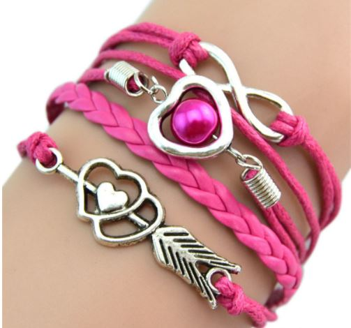 Sweet Heart Leather bracelet -  Pack of 4 (Pink, Fusca, Blue and Teal) - Clarissa Maxwell