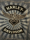 Harley-Davidson® Women's Denim Jacket with Faux leather Sleeves XL - Clarissa Maxwell