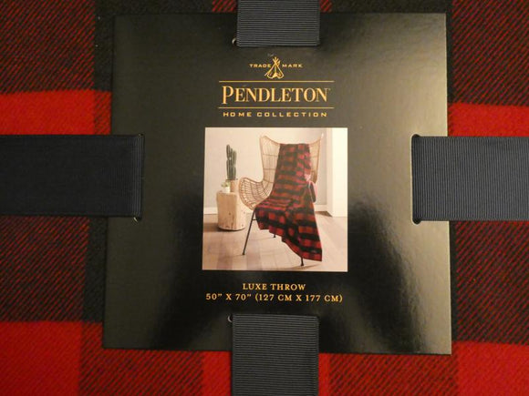 Pendleton Home Collection Rob Roy Luxe Red/Black Throw Blanket 50 X 70 New - Clarissa Maxwell