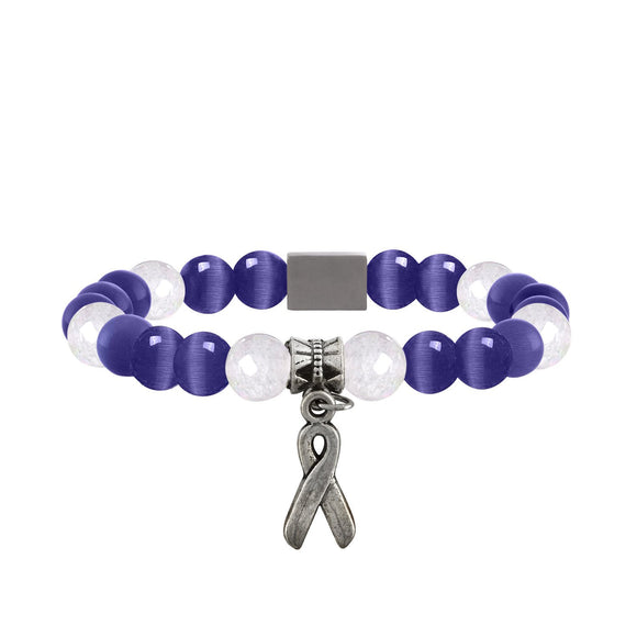 American Cancer Society Beaded Bracelet - Purple - Clarissa Maxwell