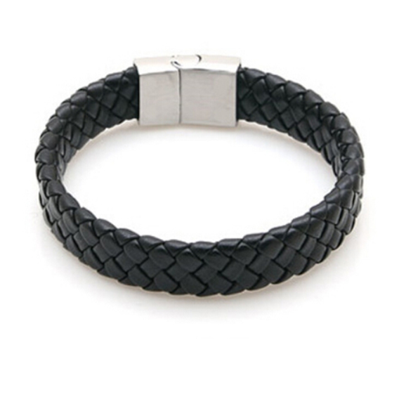 Braided Leather band - Black - Clarissa Maxwell