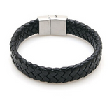 Braided Leather band - Black  (Large Size) - Clarissa Maxwell