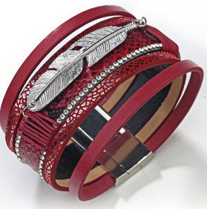 Feather Bracelet - Red - Clarissa Maxwell
