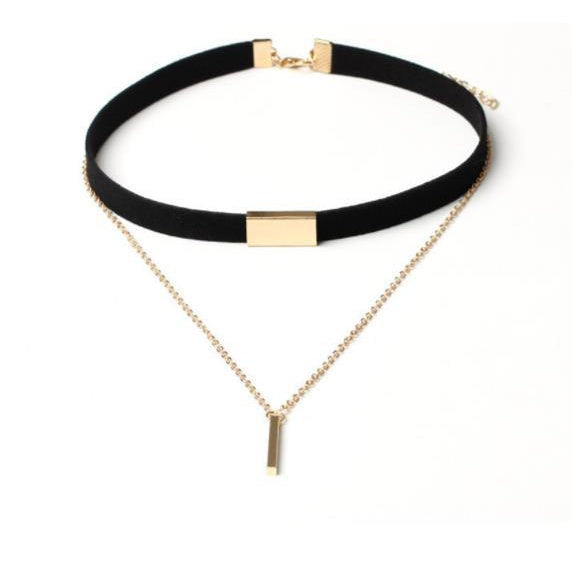 Gold Bar Choker - Black - Clarissa Maxwell