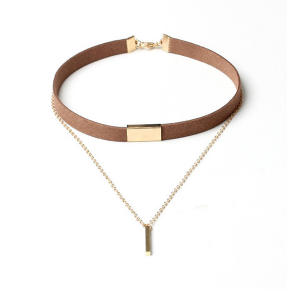 Gold Bar Choker - Brown - Clarissa Maxwell