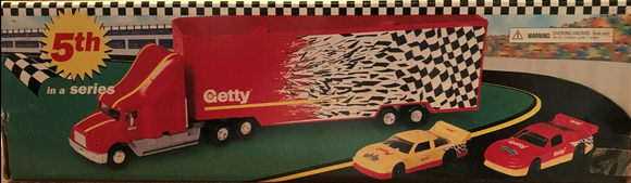 1998 Getty Toy Multi Race Car Transporter. Working Lights, Sound,Race Cars Included - Clarissa Maxwell