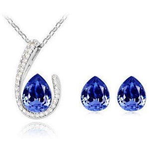Horseshoe Necklace Earring set - Sapphire - Clarissa Maxwell