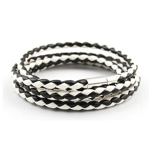 Leather Wrapped 2nd Series Bracelet - Black and White - Clarissa Maxwell