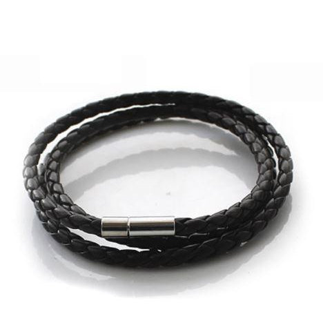 Leather Wrapped 2nd Series Bracelet - Black - Clarissa Maxwell