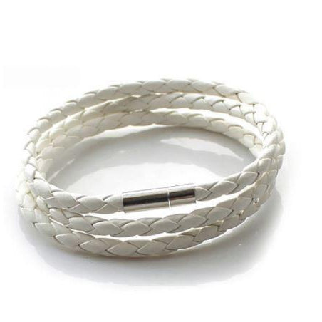 Leather Wrapped 2nd Series Bracelet - White - Clarissa Maxwell