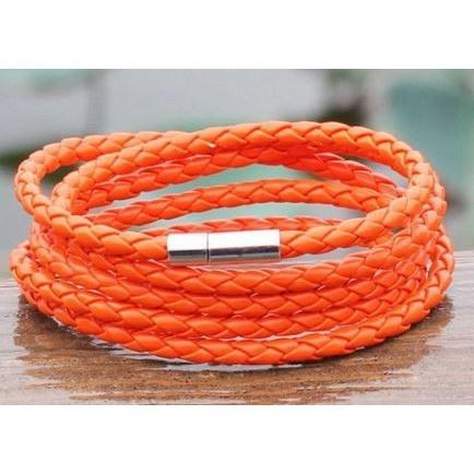 Leather Wrapped Series Bracelet - Orange - Clarissa Maxwell