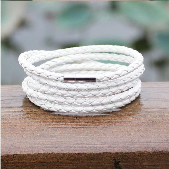 Leather Wrapped Series Bracelet - White - Clarissa Maxwell