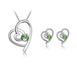 Loving Heart Earring and Necklace Set - Emerald - Clarissa Maxwell