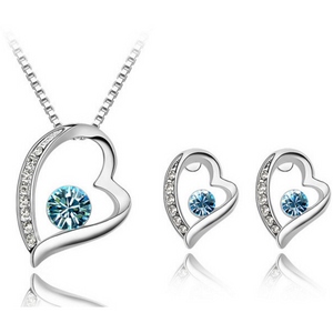 Loving Heart Earring and Necklace Set - Topaz - Clarissa Maxwell