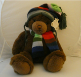 "Gund Lord & Taylor TEDDY BEAR Plush Holiday Stuffed Animal Scarf & Hat 17"" - Clarissa Maxwell"