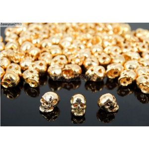 Mini Gold Rose Skull - 4mm Spacer - Clarissa Maxwell