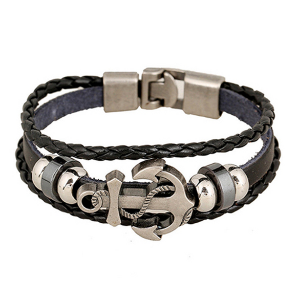 Nautical Latch leather bracelet - Black - Clarissa Maxwell