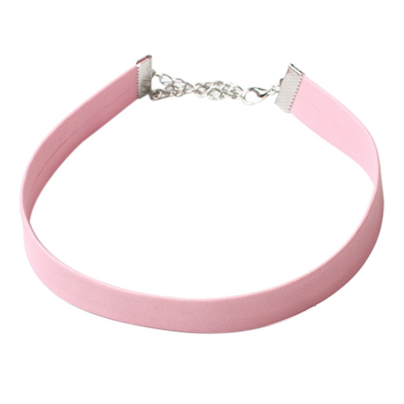 Pink Leather Choker - Clarissa Maxwell