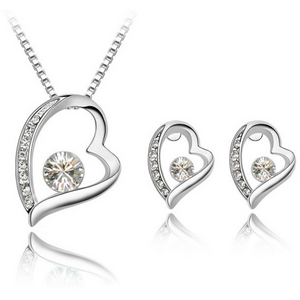 Precious Heart Necklace and Earring set - Clear - Clarissa Maxwell